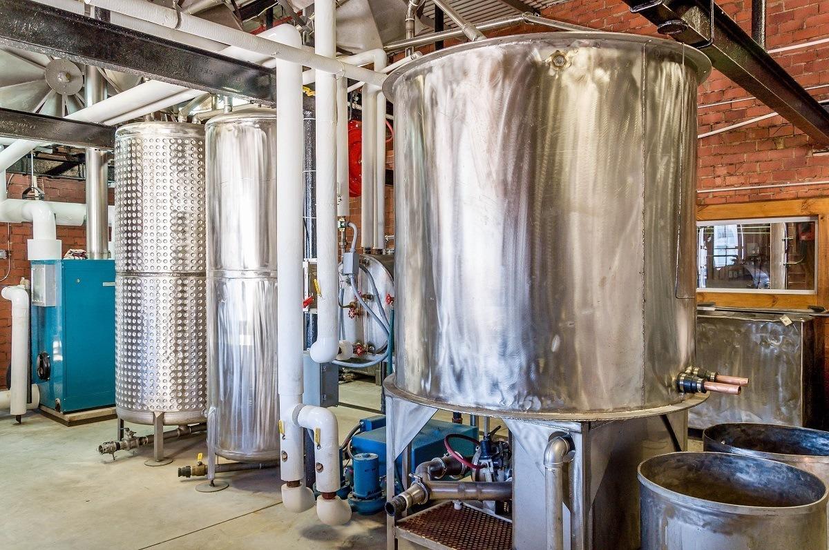 Stills at Copper Barrel Distillery in North Wilkesboro, North Carolina