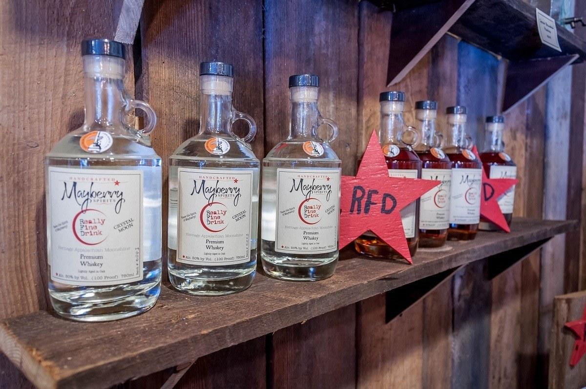 Mayberry Spirits' moonshine bottles on a shelf