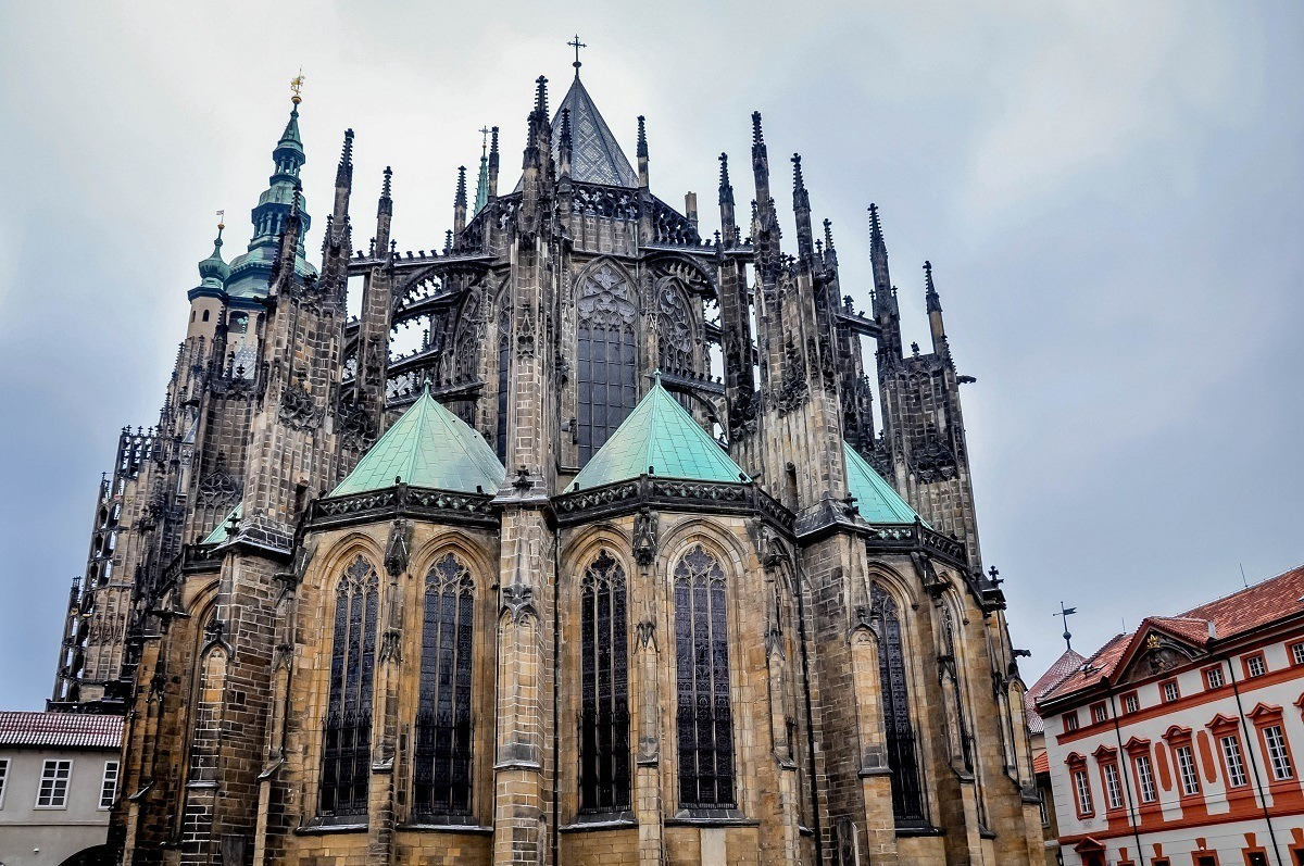 Ornate St. Vitus Cathedral with spires and stained glass windows