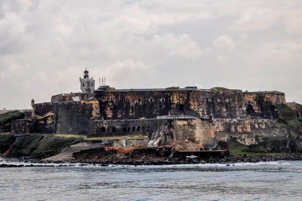 Old stone fort on the coast by the ocean
