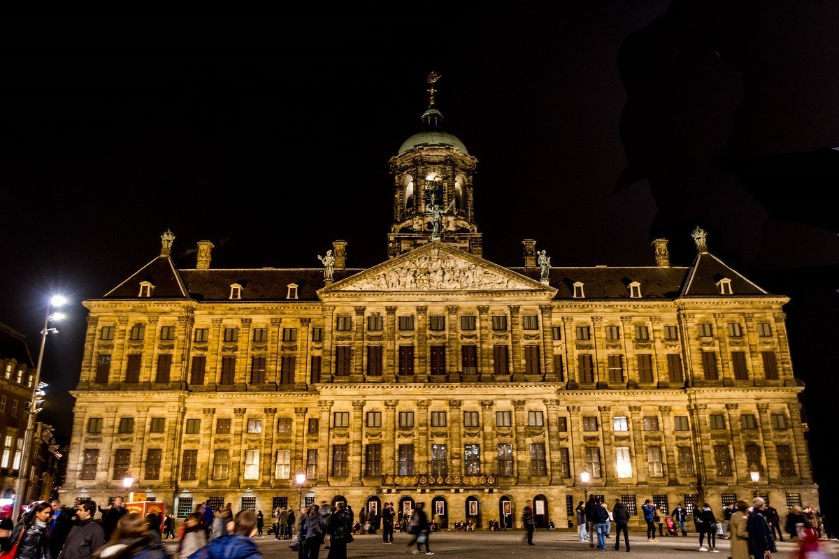 Building with bell tower and spire, the Royal Palace Amsterdam