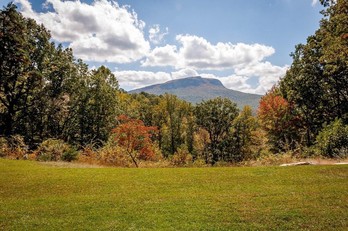 Moore's Knob mountain beyond the fall foliage