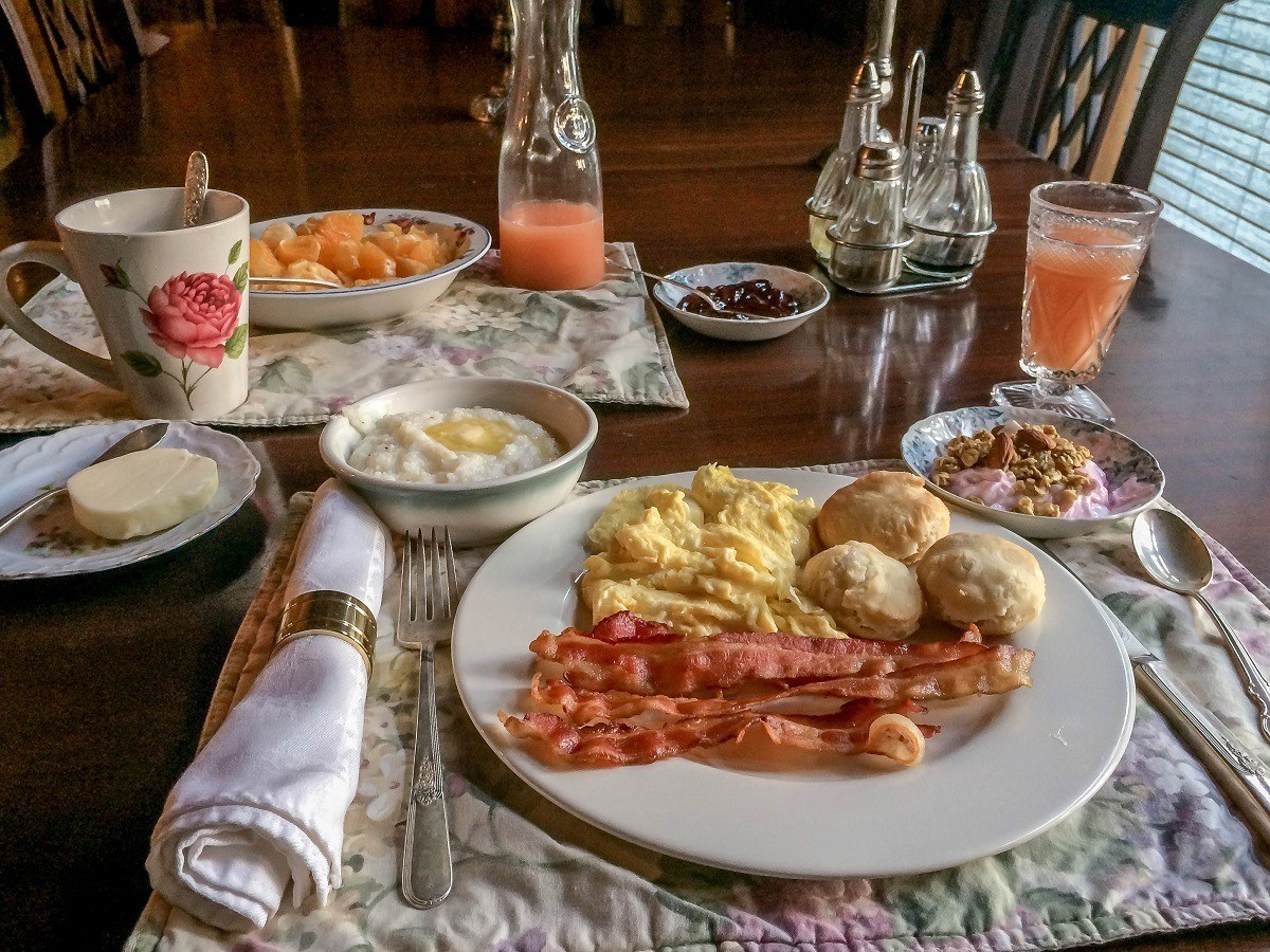 Eggs, bacon, biscuits, grits, and more for breakfast
