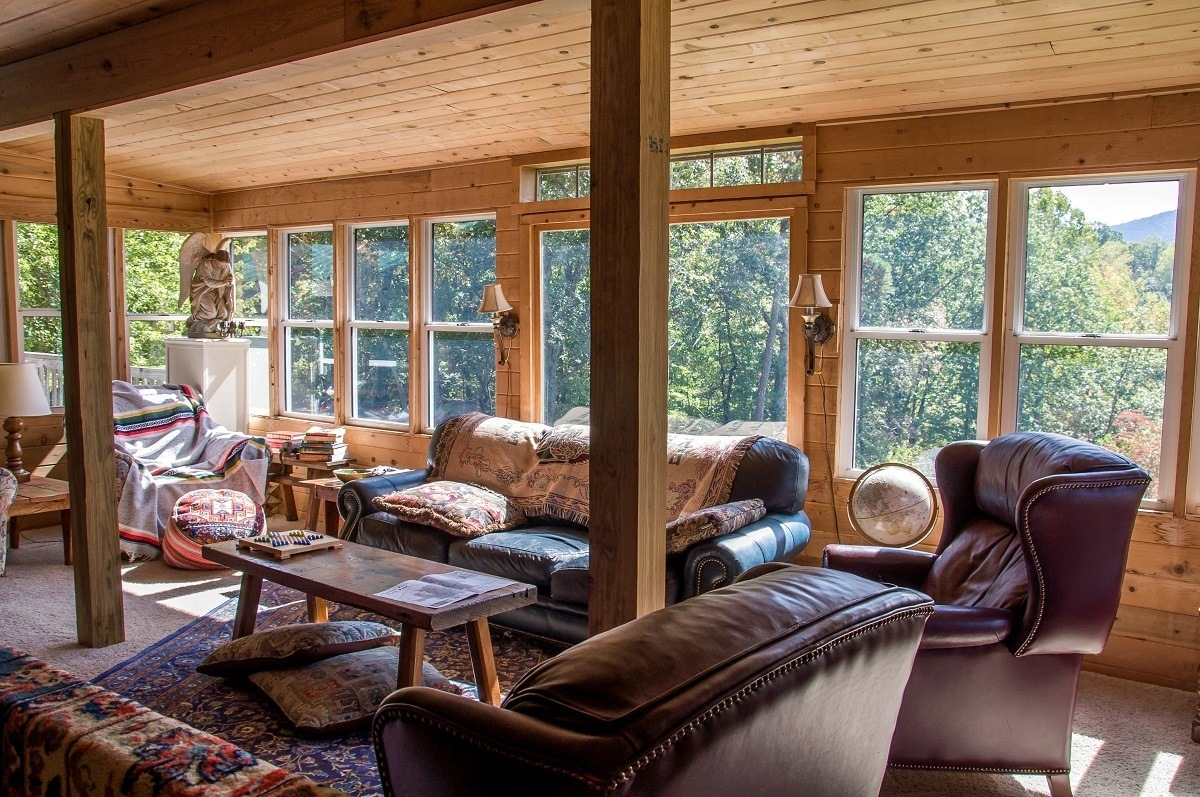 The library loft with leather couches