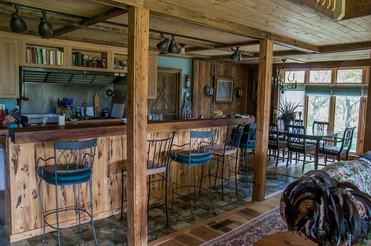 Wooden breakfast bar and chairs in the kitchen
