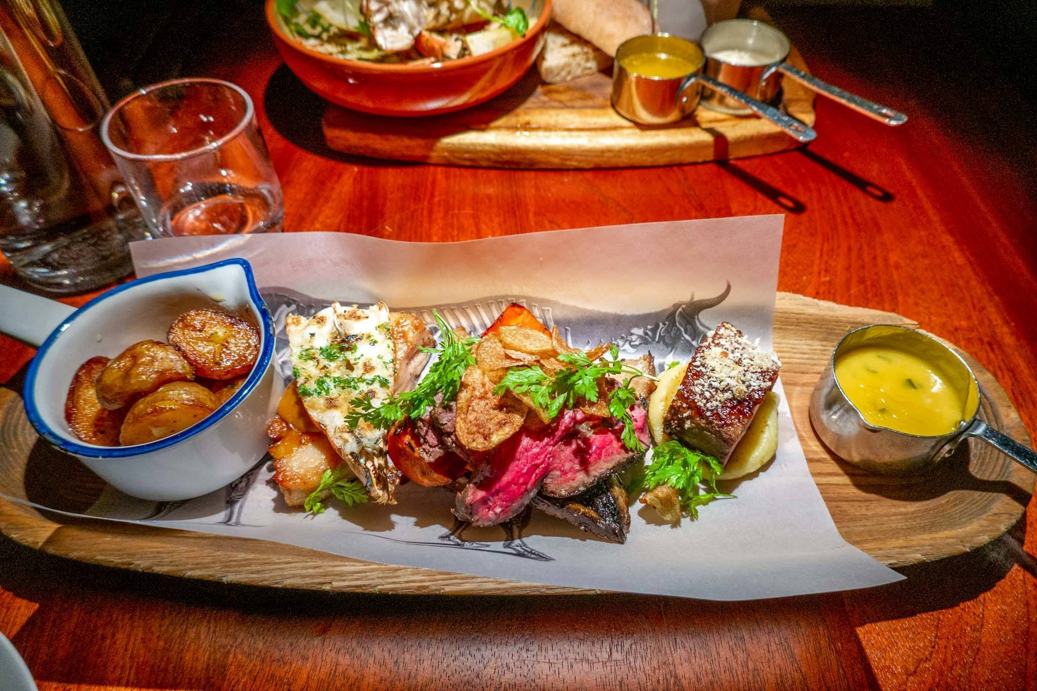 Grill platter of local Icelandic foods at the Food Cellar in Reykjavik
