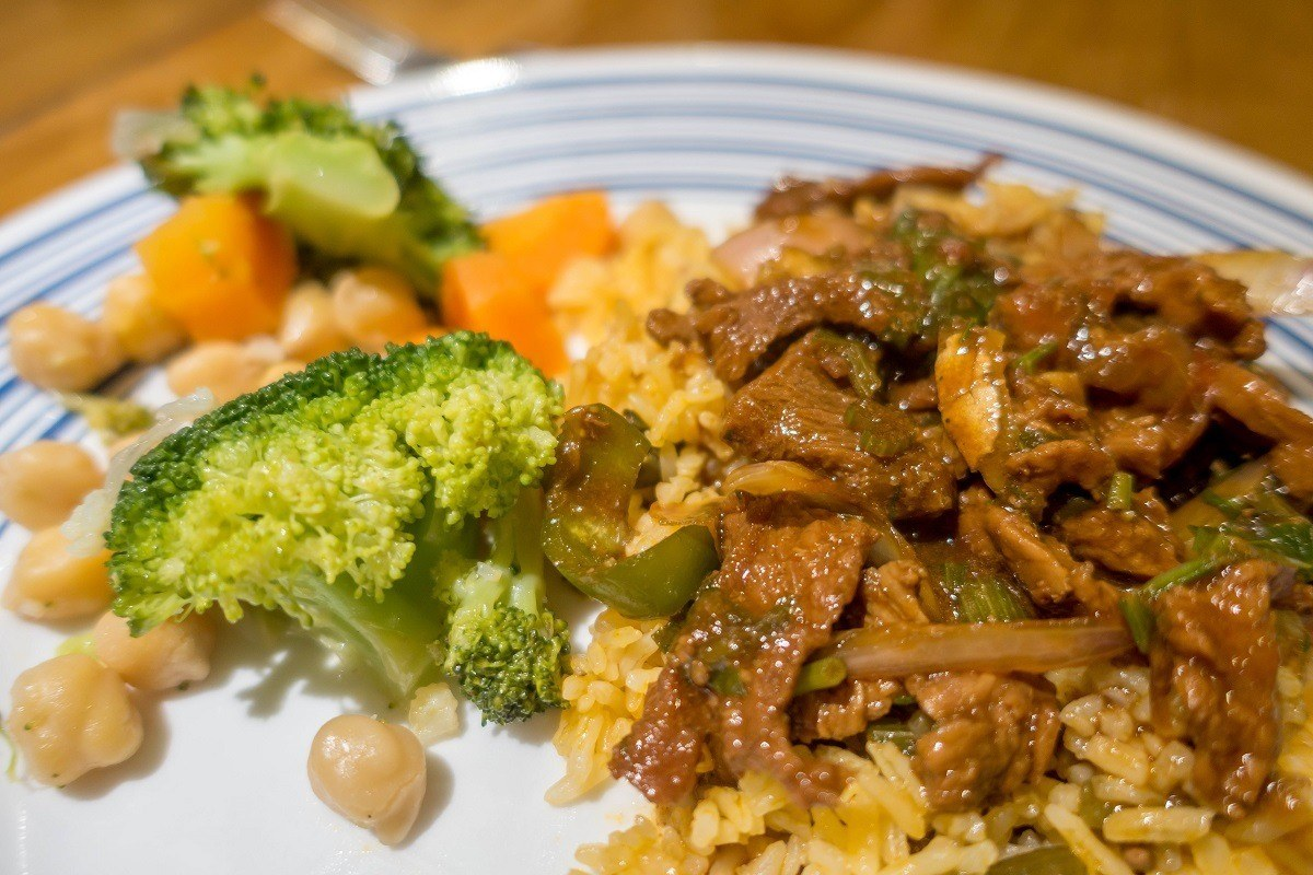 Broccoli, meat and rice for dinner on one of the Galapagos cruise boats