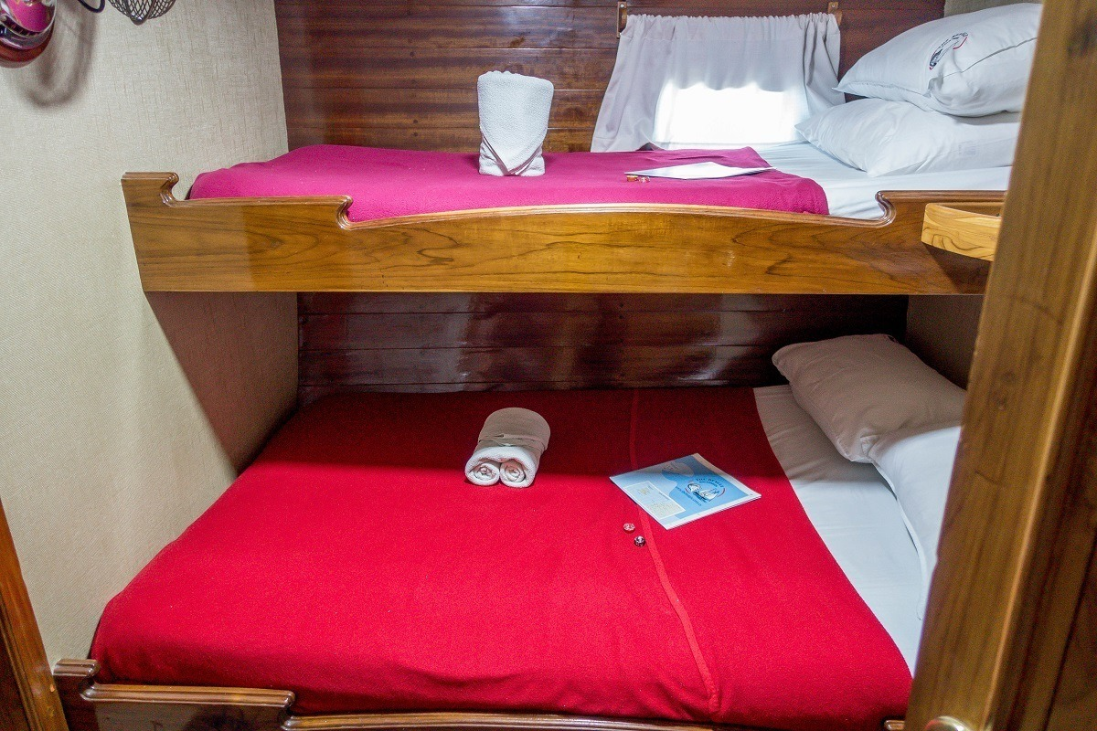 The Beagle boat has bunk-style beds in the staterooms