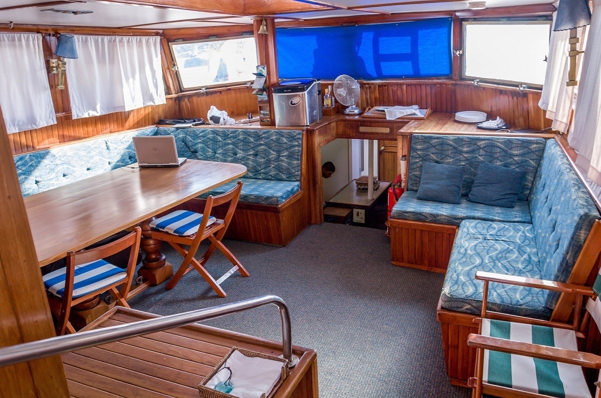 The interior lounge and sitting area on the Beagle Galapagos cruise boat