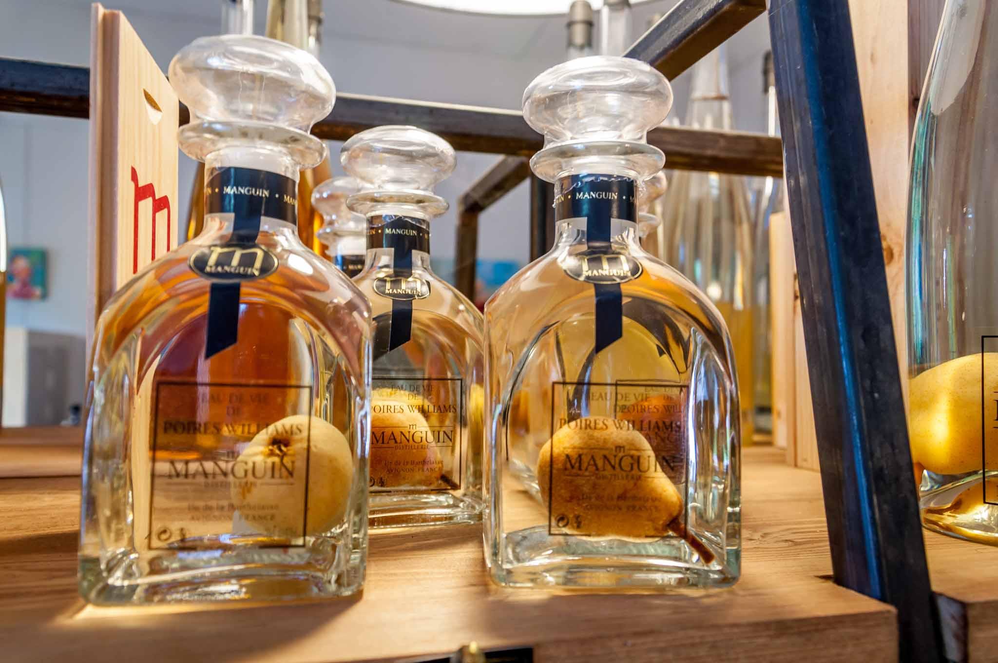 Pears in bottles of brandy