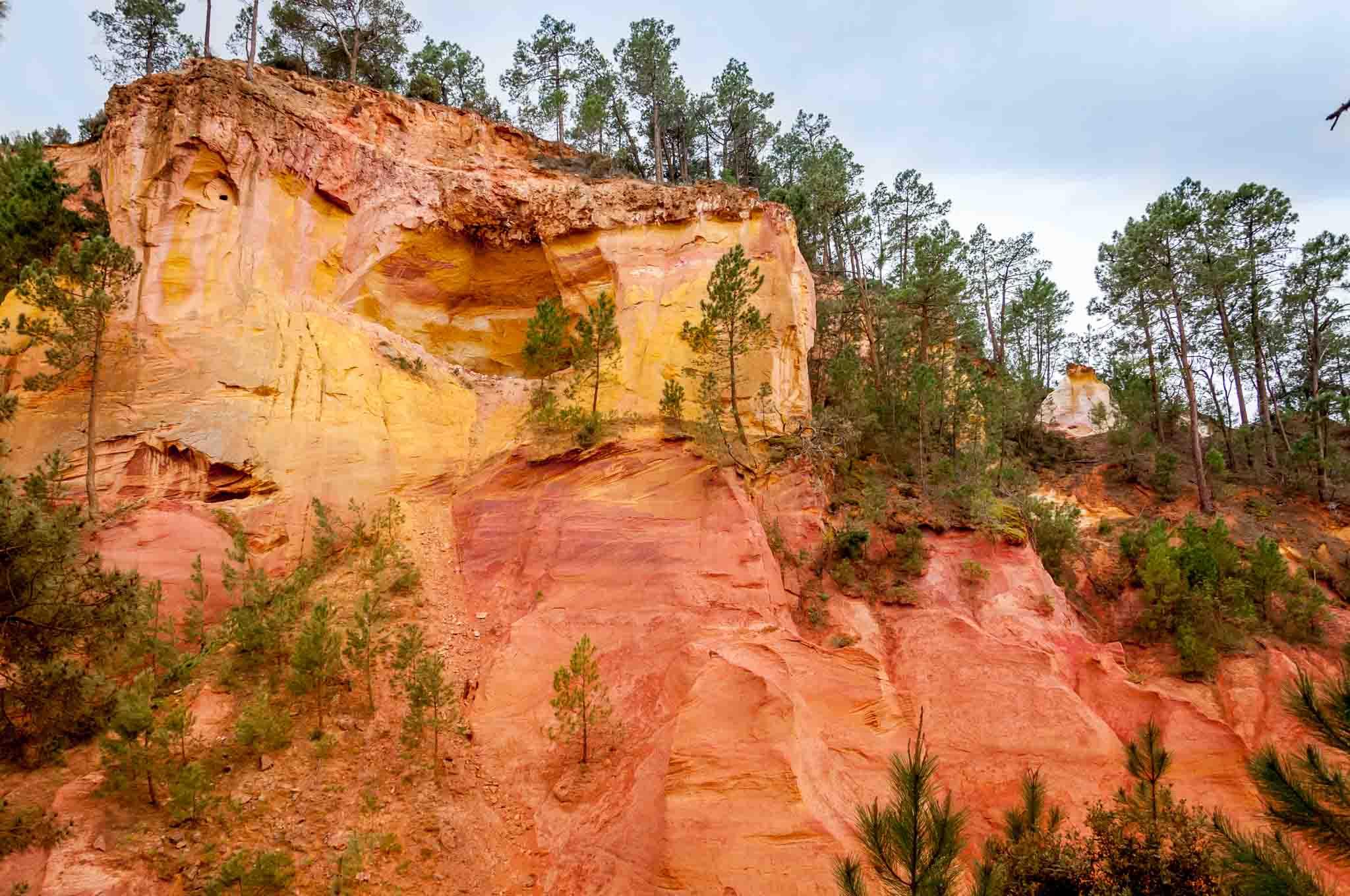 Yellow and orange ochre deposits in cliffs