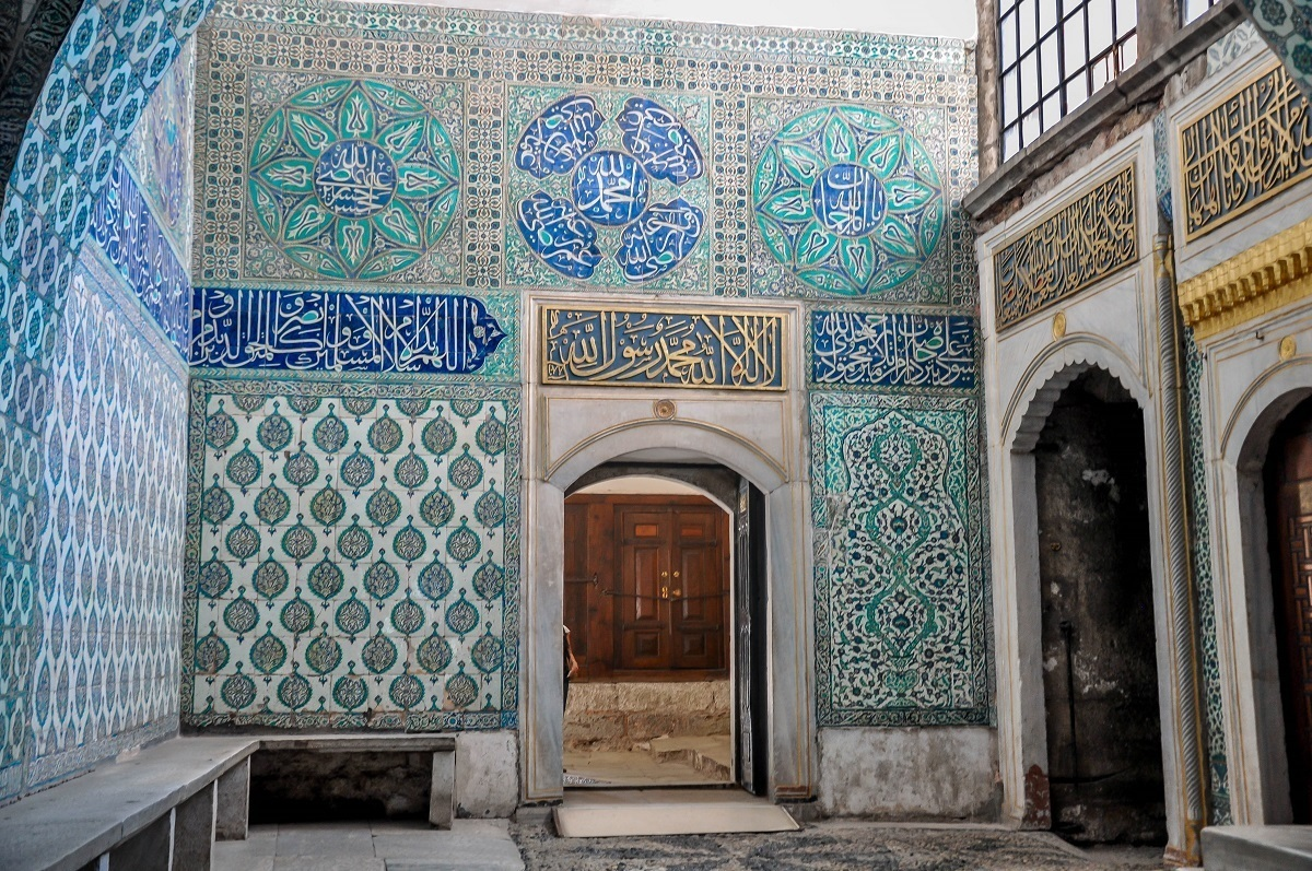 Wall with numerous tilework designs