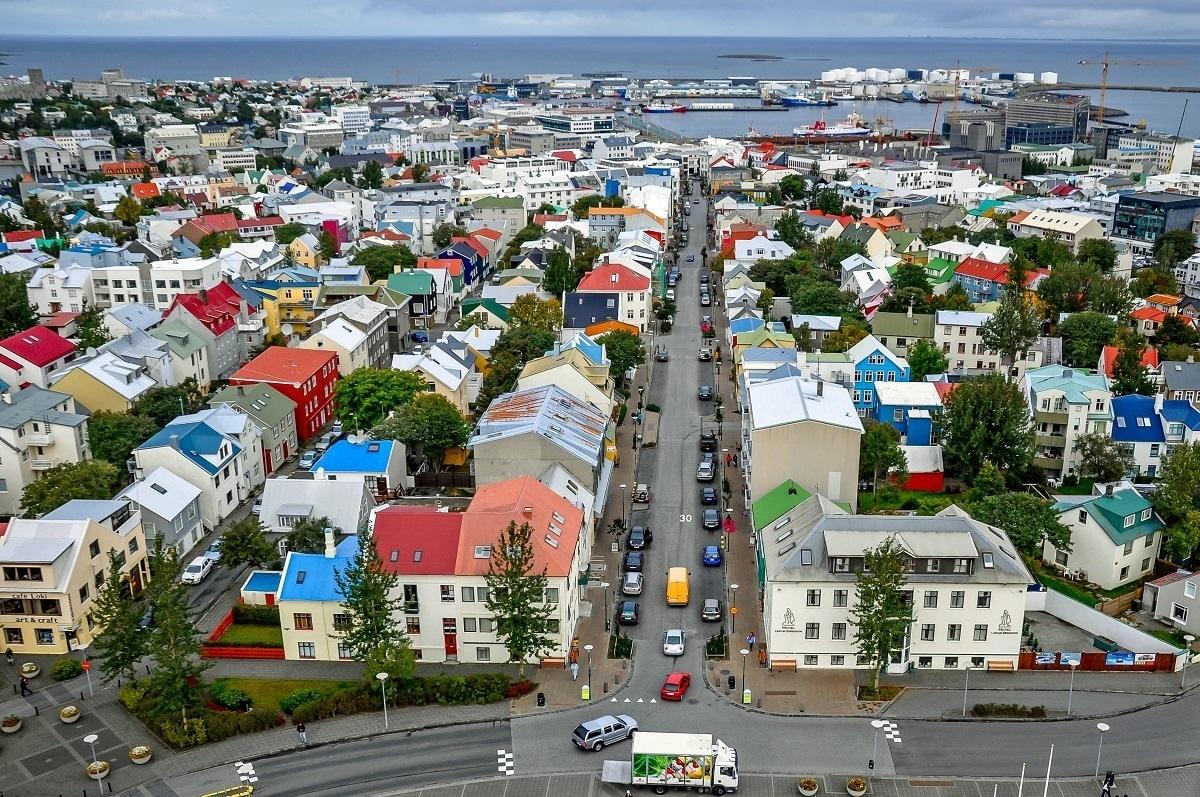View of Reykjavik from the top of Hallgrimskirkja church