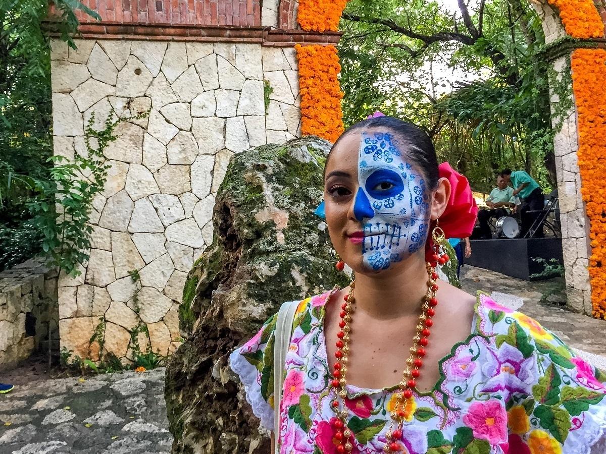 Woman wearing skeleton face paint