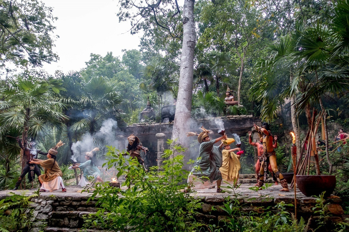 Actors performing in a Mayan village