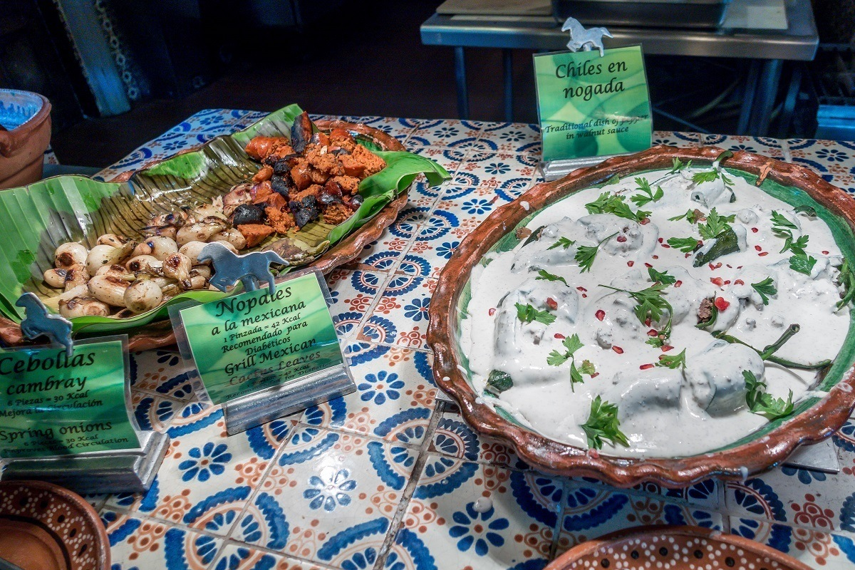 Buffet with Mexican vegetable dishes