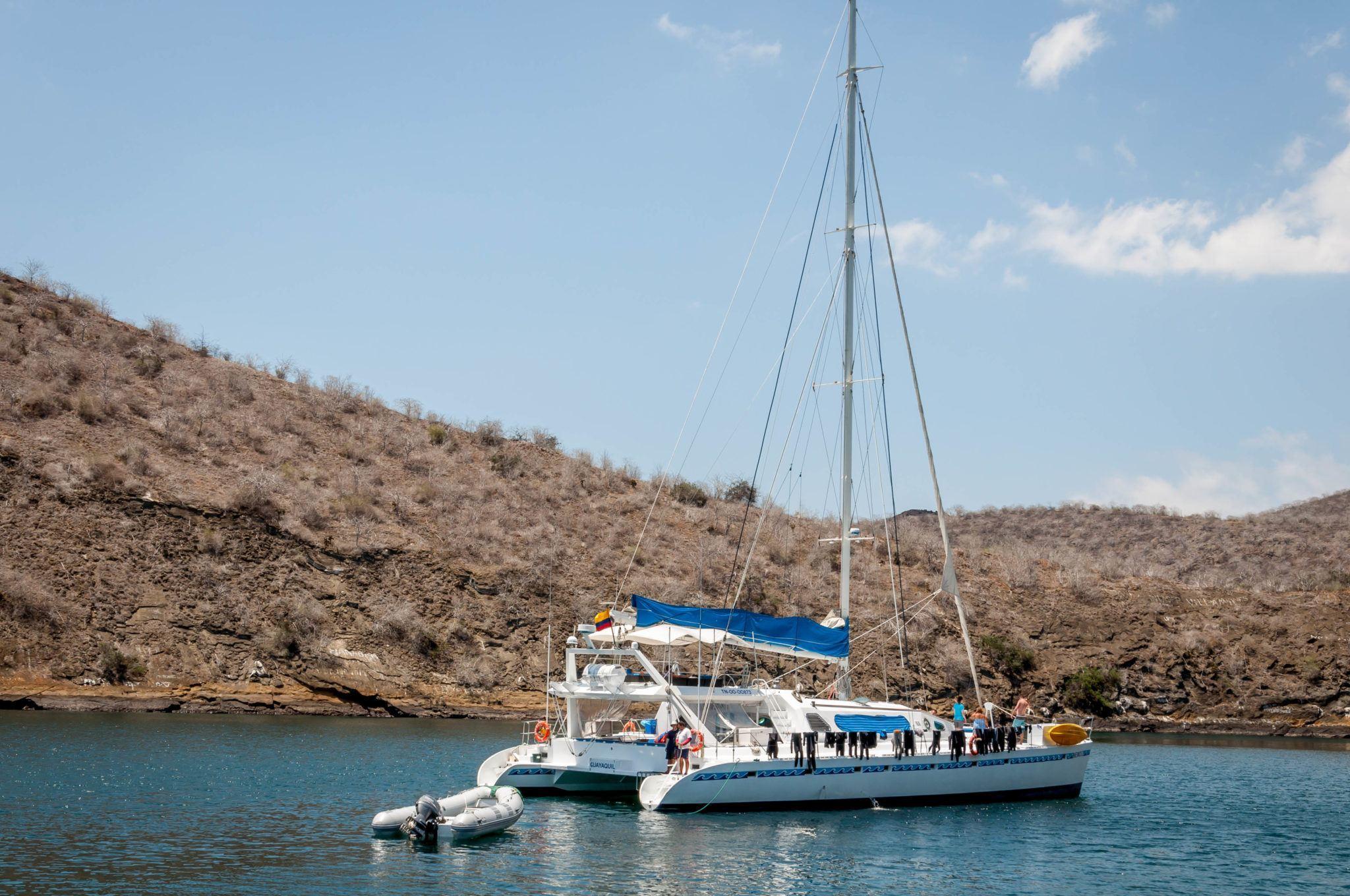 A catamaran boat in the Galapagos