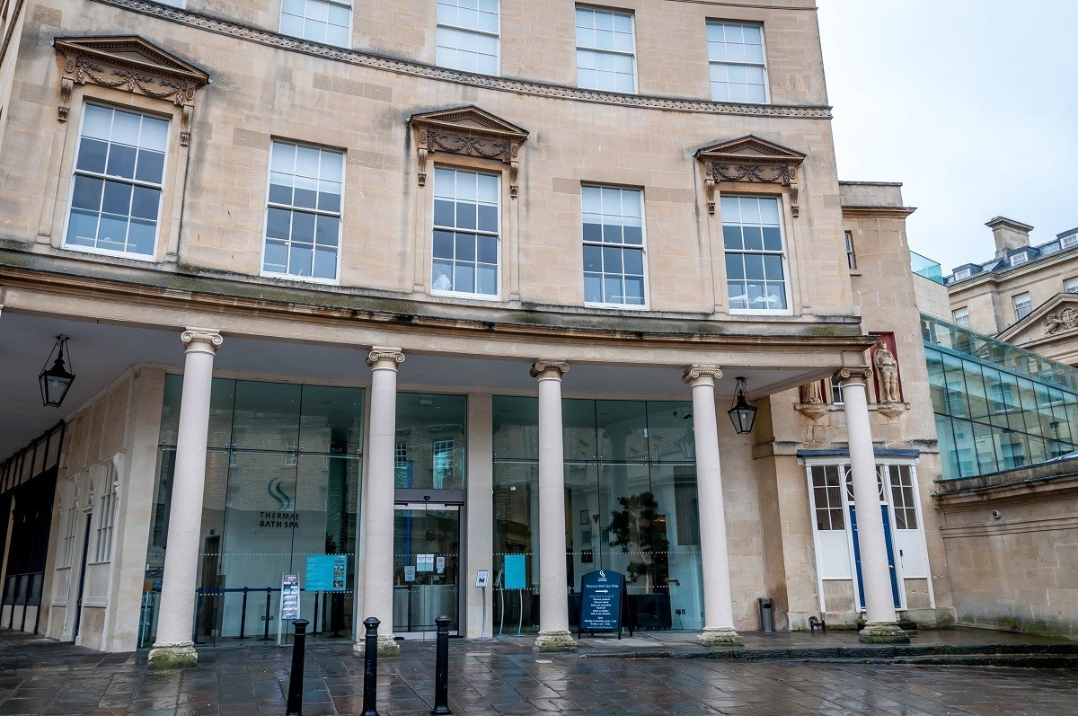 The entrance of the Thermae Spa in Bath, England