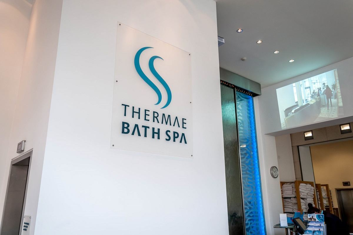 Entrance sign for the spa