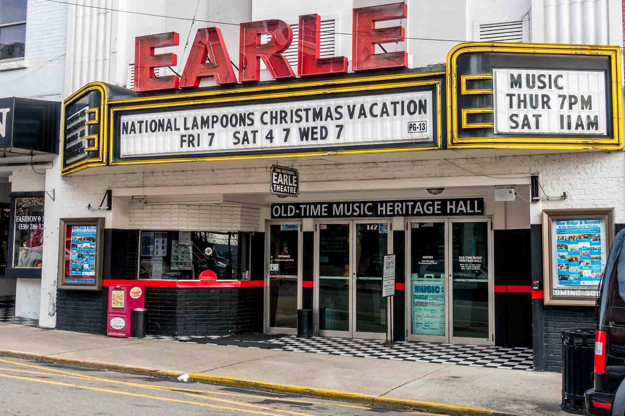 Exterior of Earle Theater and its marquee