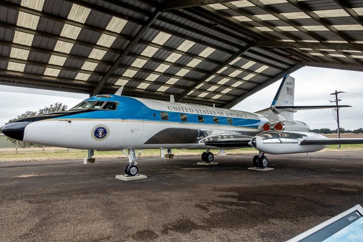 Air Force One-Half in an airplane hangar