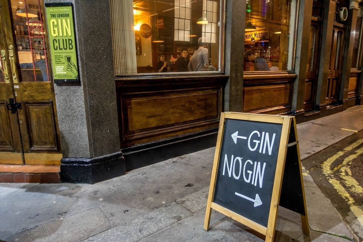 Sign outside The London Gin Club