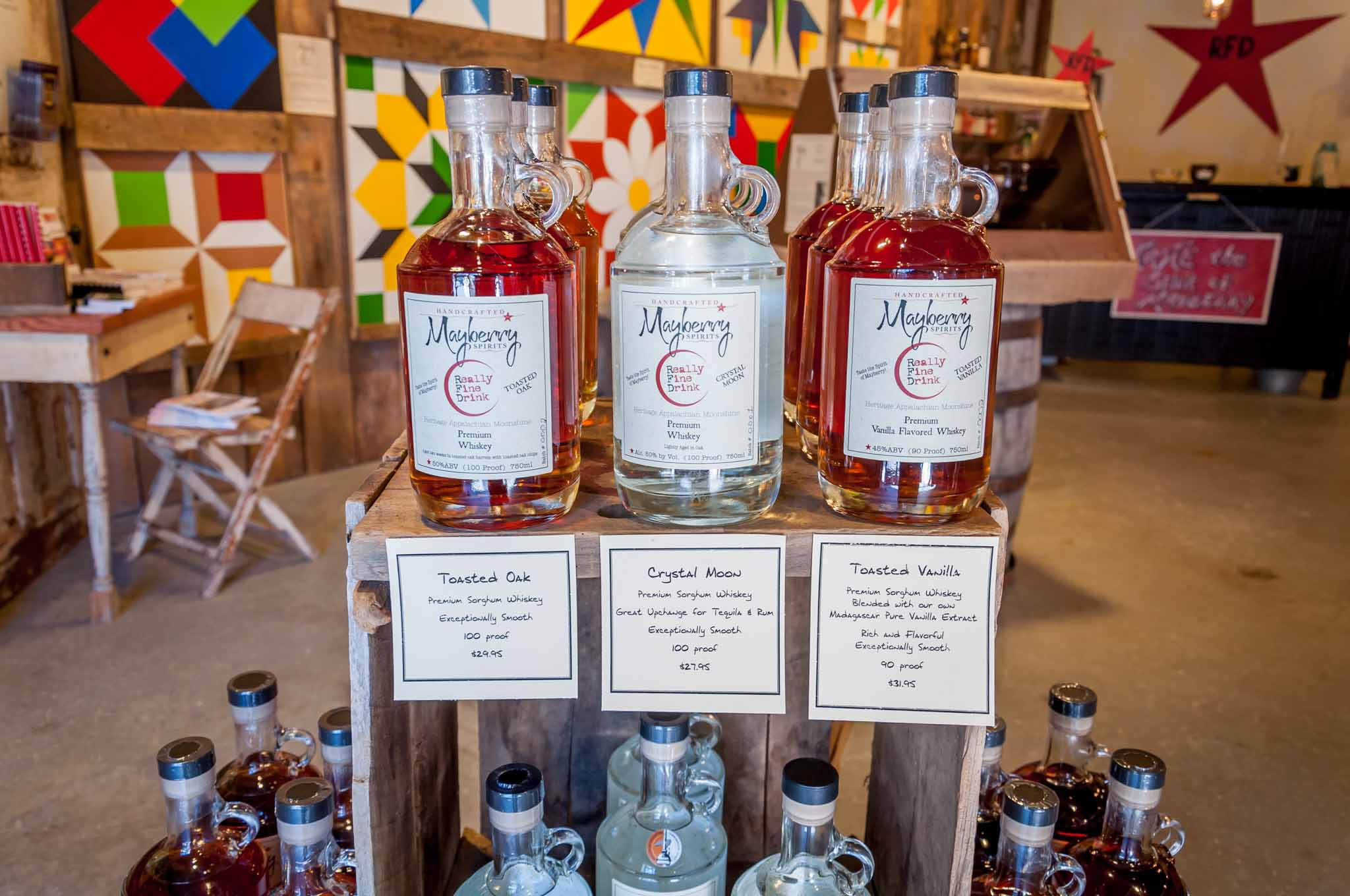 Bottles of Mayberry Spirits whiskey for sale