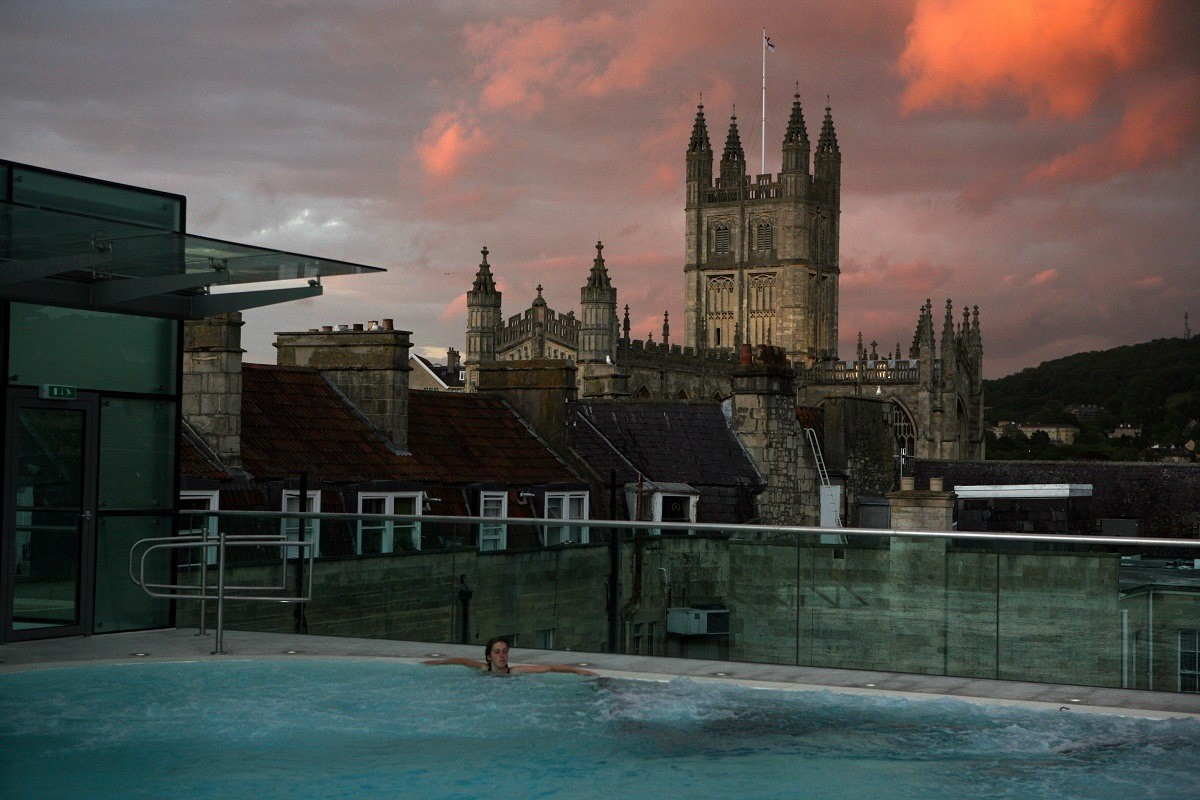 The Bath Abbey Cathedral from the Open-air Rooftop Pool at the Thermae Spa in Bath