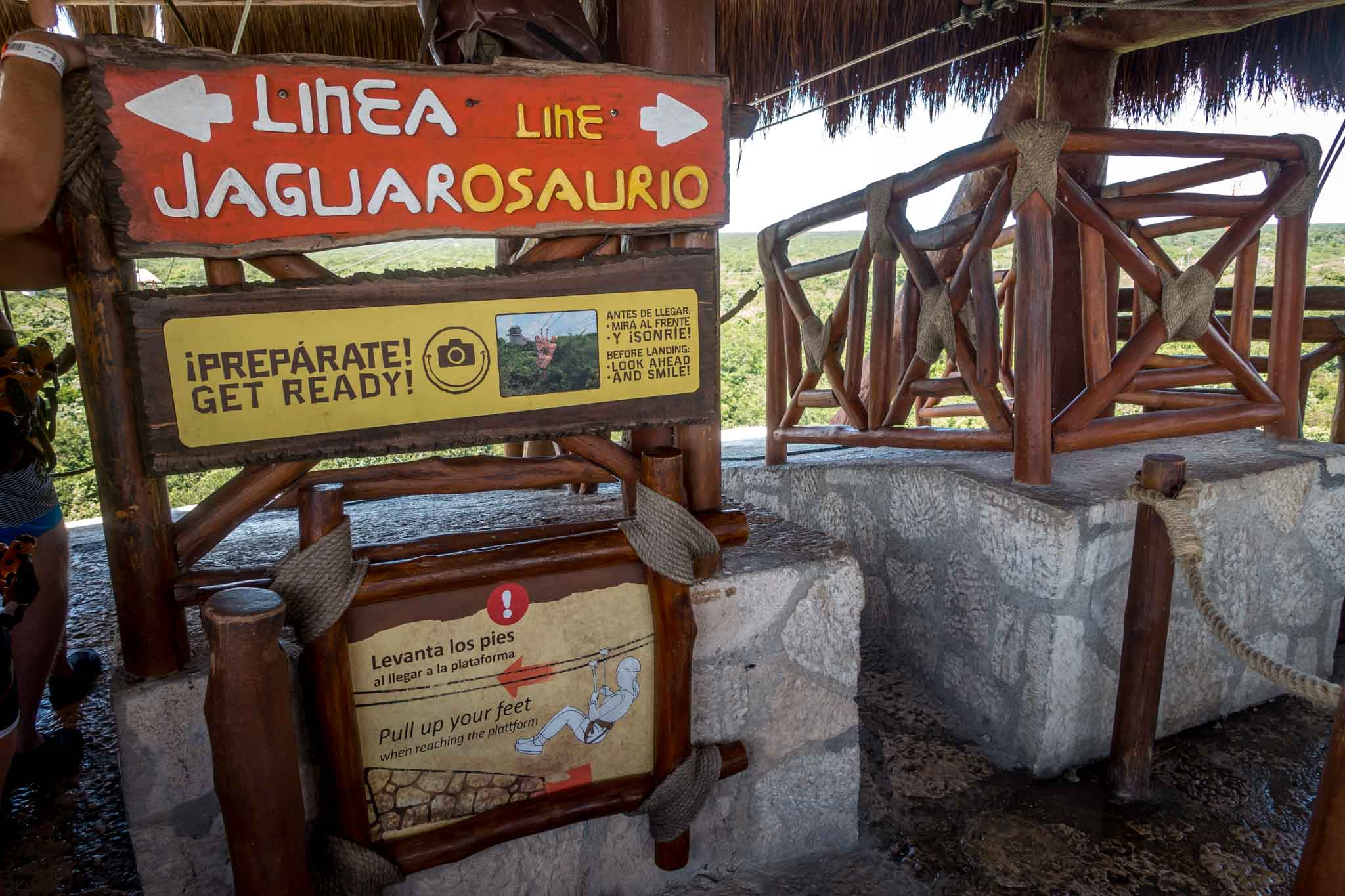 Sign for the jaguar zip line