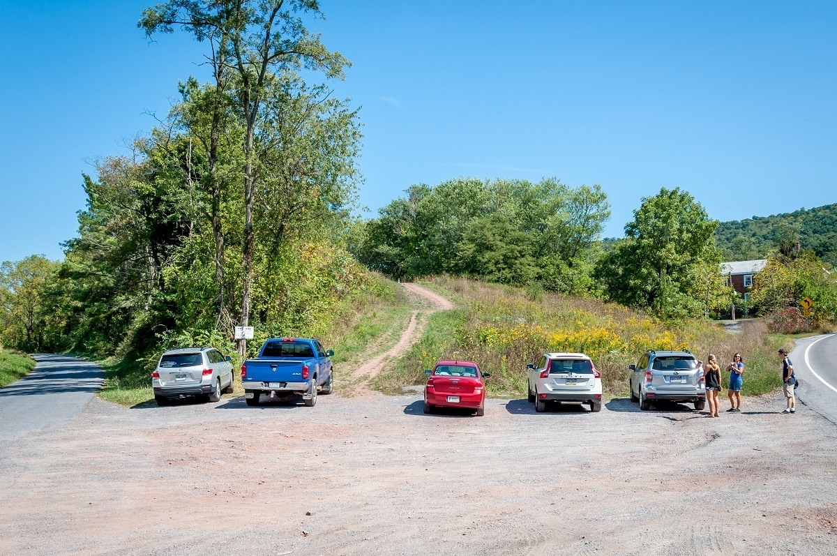 The parking lot for the Abandoned PA Turnpike in Breezewood