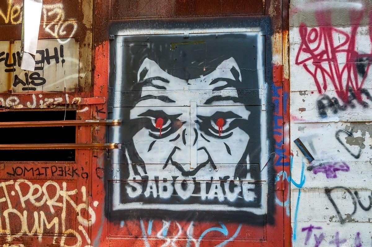 Graffiti saying Sabotage at the Rays Hill Tunnel near Breezewood