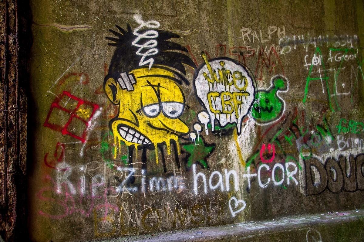 Cartoon graffiti at the Rays Hill Tunnel in Pennsylvania