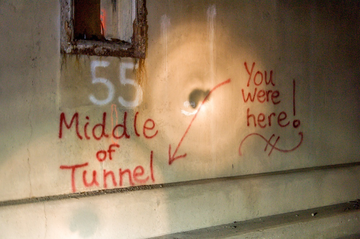 Middle of the Tunnel graffiti in Rays Hill Tunnel