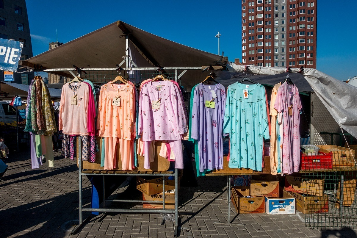 Clothes for sale at an outdoor market