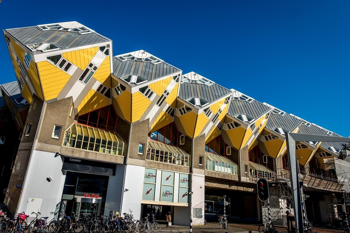 Row of Yellow Cube Houses in Rotterdam Netherlands