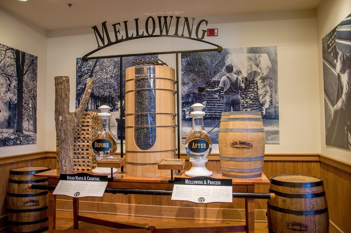 Exhibit showing the charcoal filtration process for Tennessee whiskey