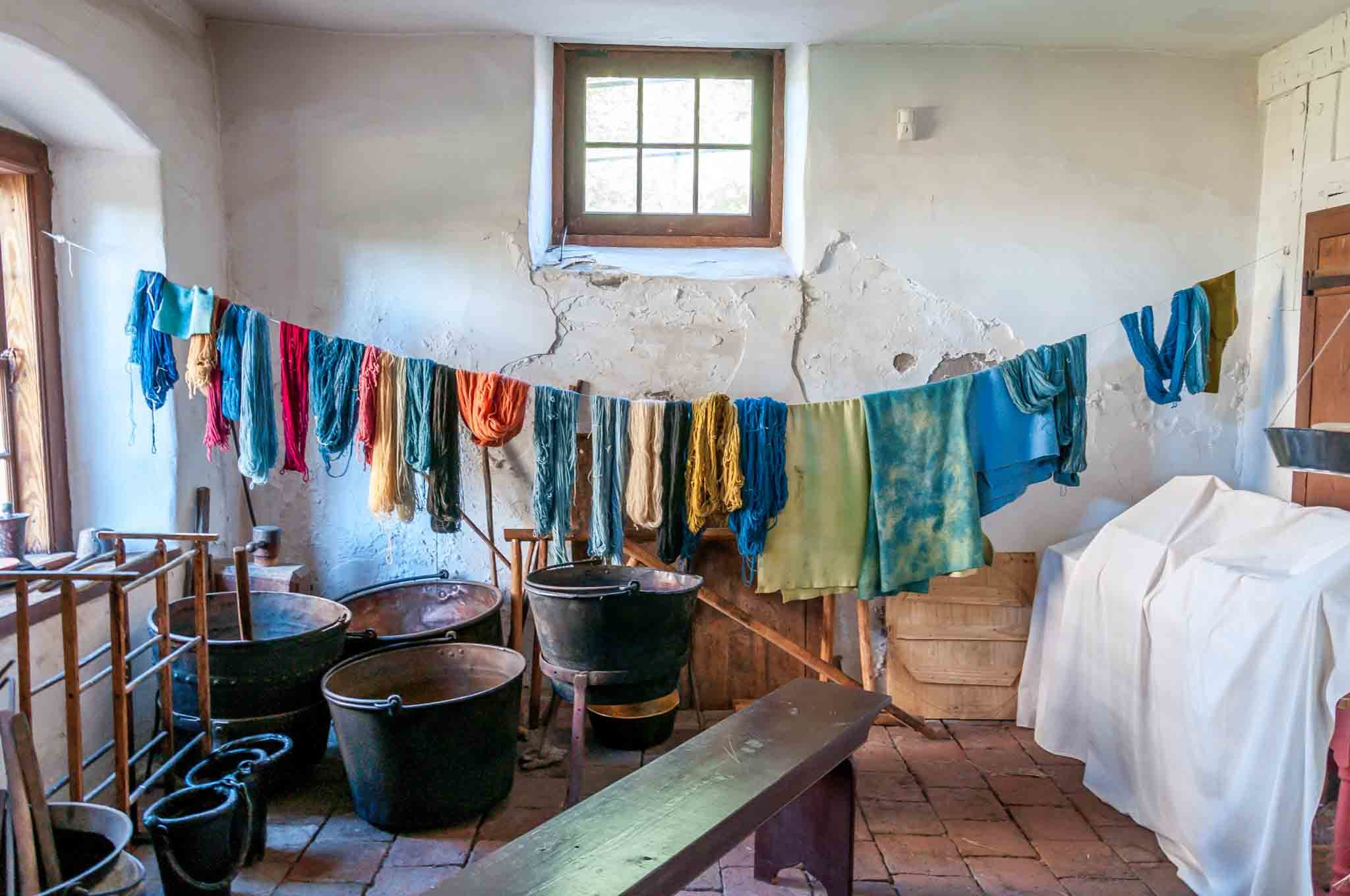 Yarn and fabric being dyed