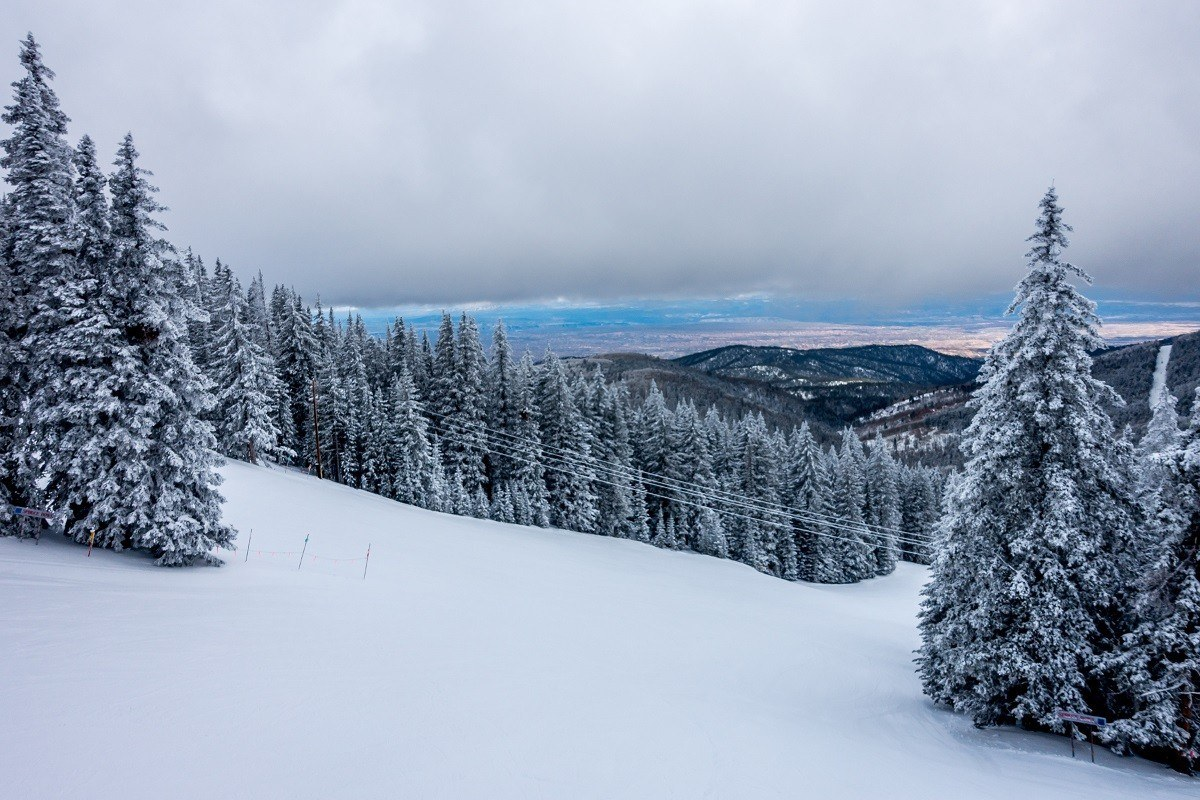 An empty run at a ski resort