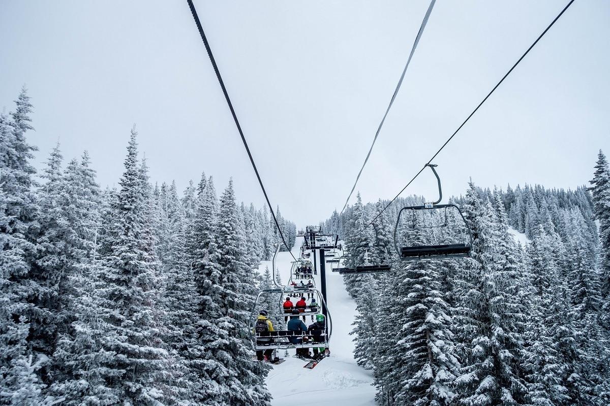 Riding the chair lift at Ski Santa Fe Resort