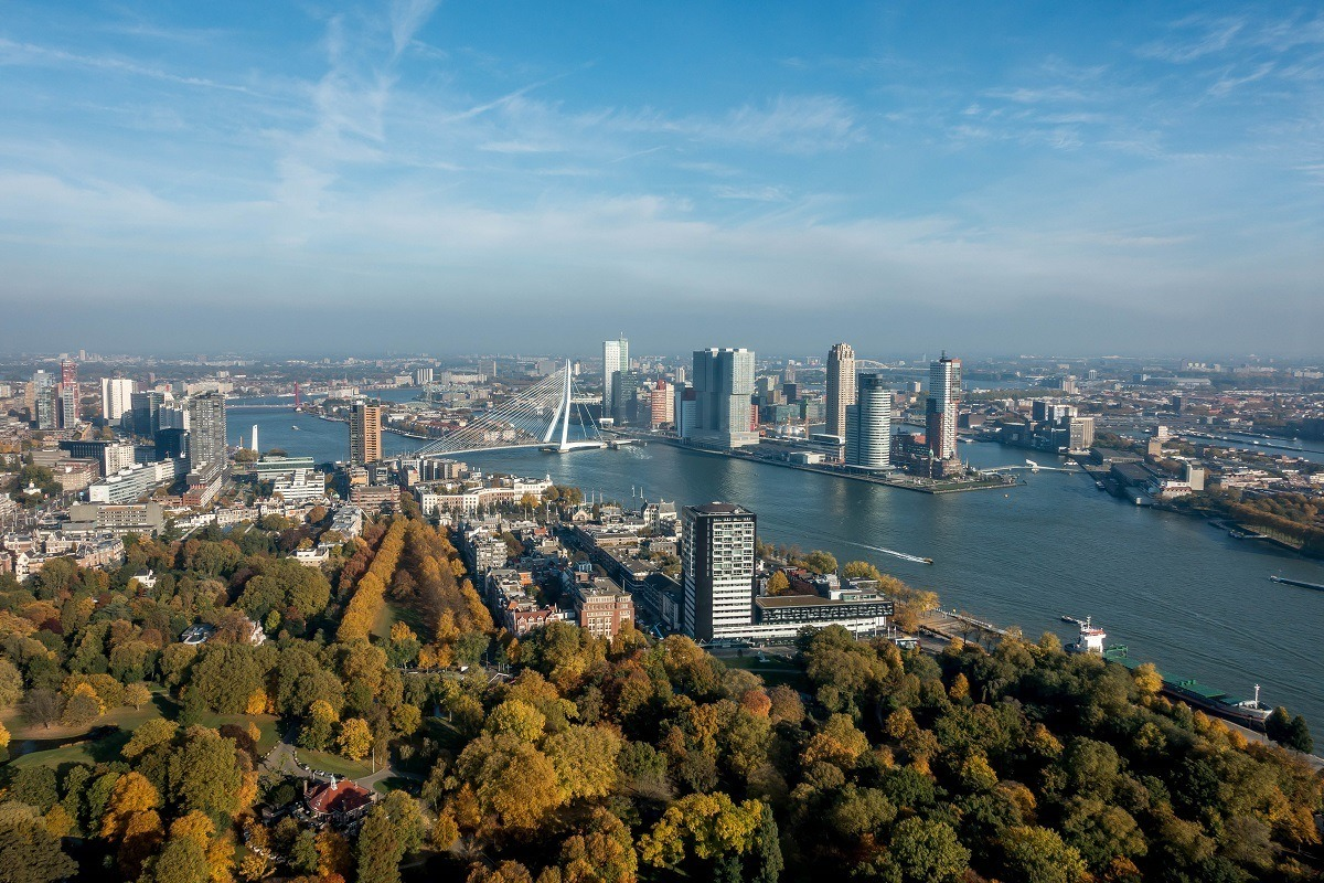 Overhead view of the buildings and waterways of  Rotterdam, Netherlands