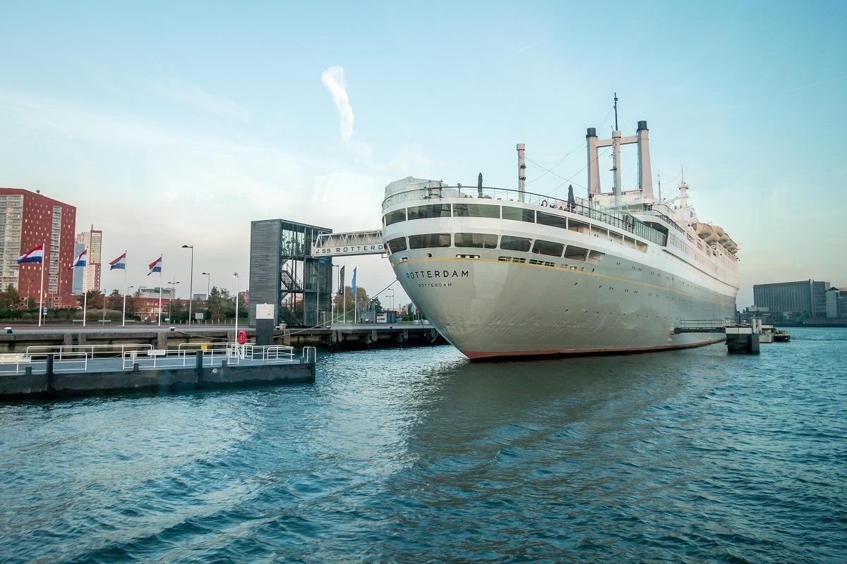 The ss Rotterdam ship docked as a museum and hotel in the port of Rotterdam