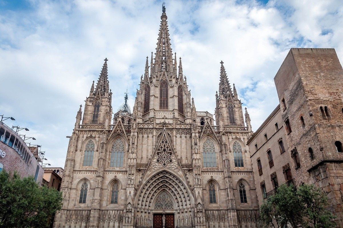 Exterior of the Barcelona Cathedral in Spain