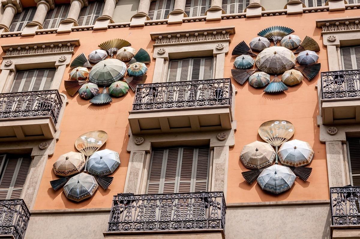 Umbrellas decorating the Casa Bruno Cuadros on La Rambla