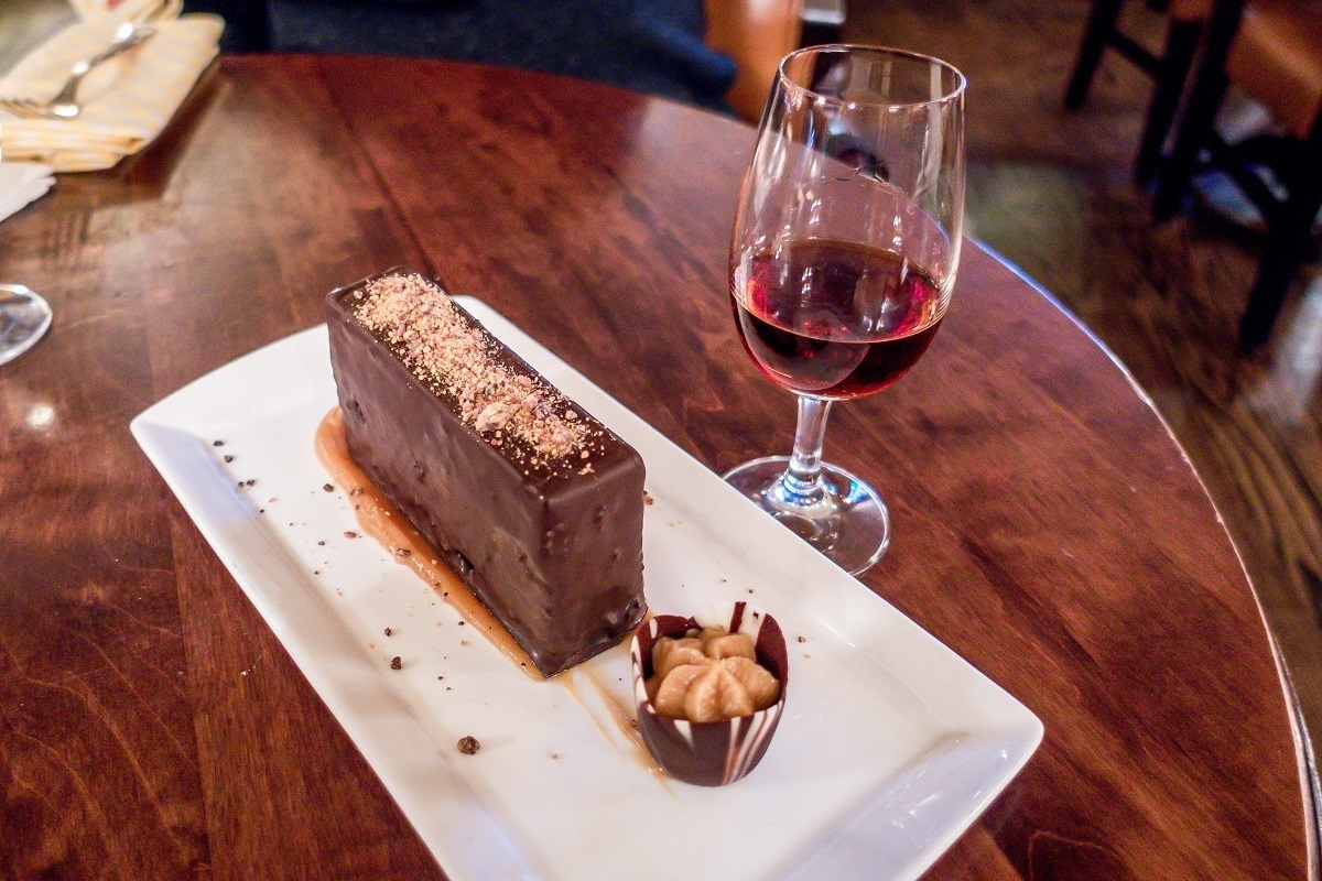 A drink of port and a chocolate dessert at the Oak Bar