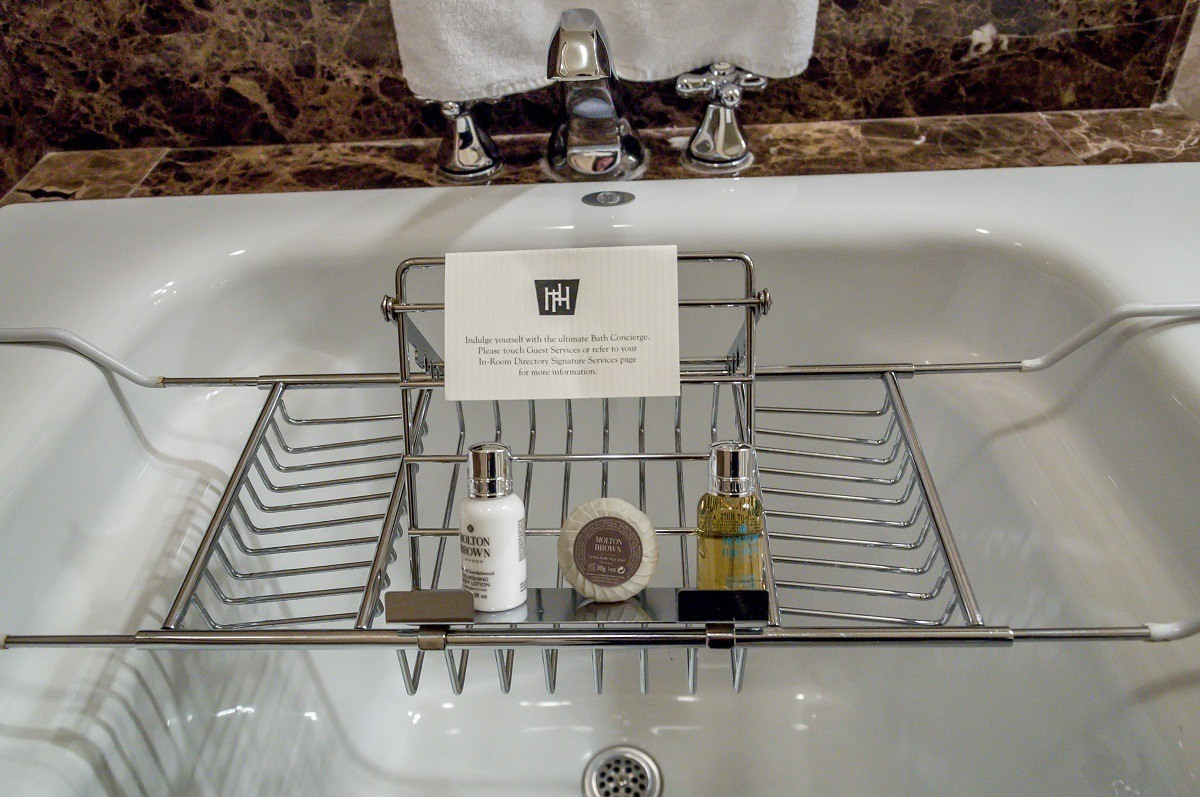 """Soaps and gels in the """"Bath Concierge"""" valet"""