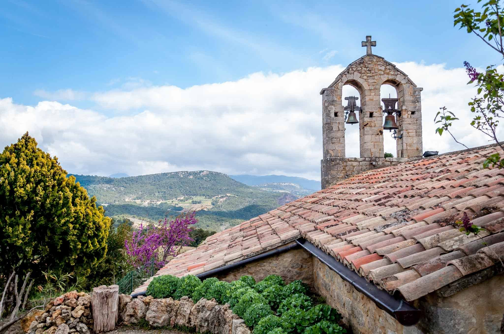 Hilltop church with a bell tower