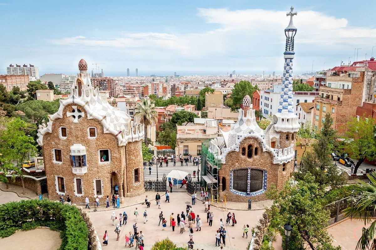 Stone buildings with fanciful decorations at Park Guell