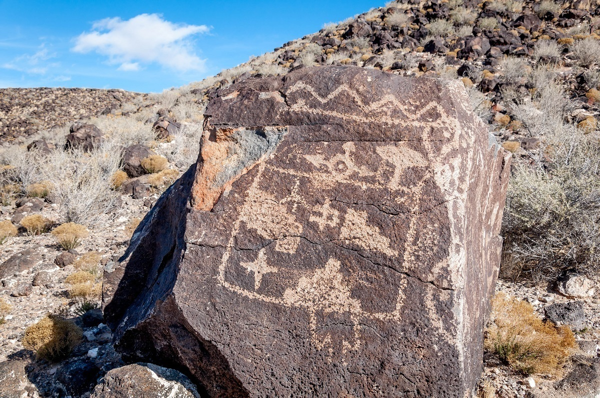 A rock drawing in the Petroglyph National Monument during a weekend in Albuquerque