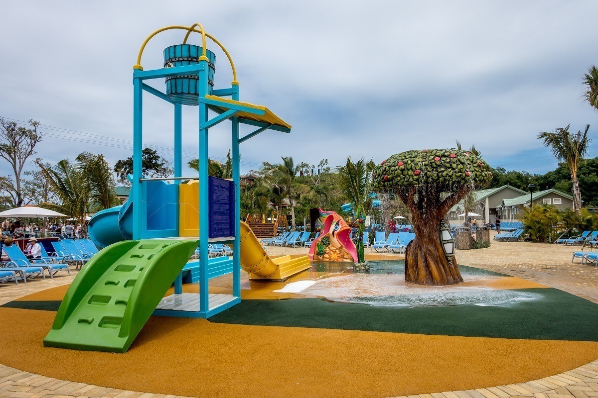 Slide and fountain in children's play area