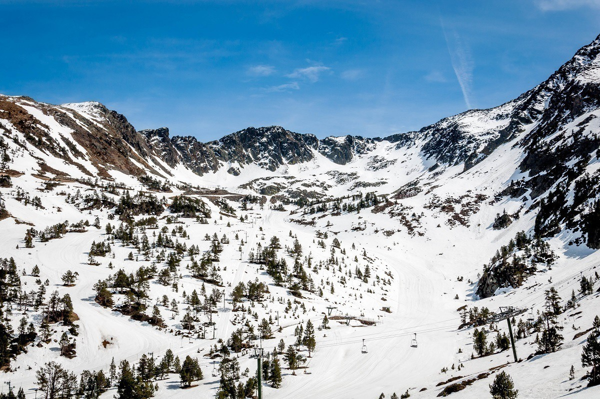 Ski lift and slopes at in Andorra in the winter